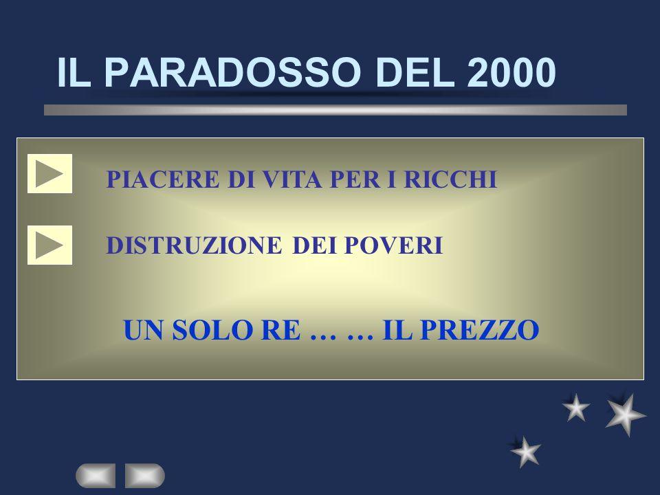 IL PARADOSSO DEL 2000 PIACERE DI VITA PER I RICCHI DISTRUZIONE DEI POVERI UN SOLO RE … … IL PREZZO