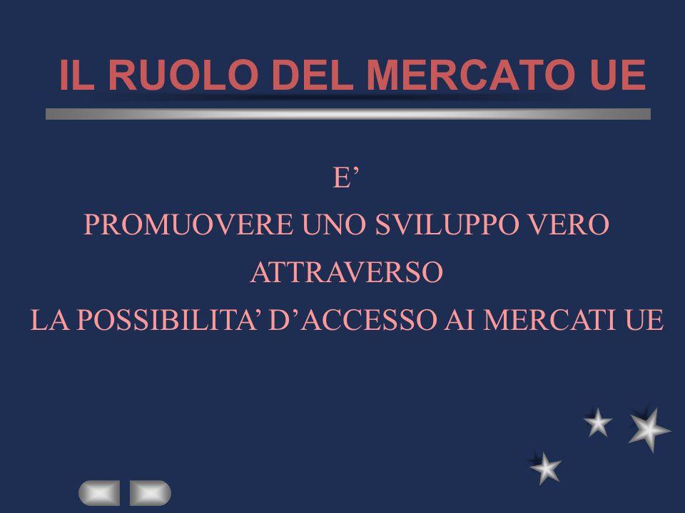 IL RUOLO DEL MERCATO UE E PROMUOVERE UNO SVILUPPO VERO ATTRAVERSO LA POSSIBILITA DACCESSO AI MERCATI UE