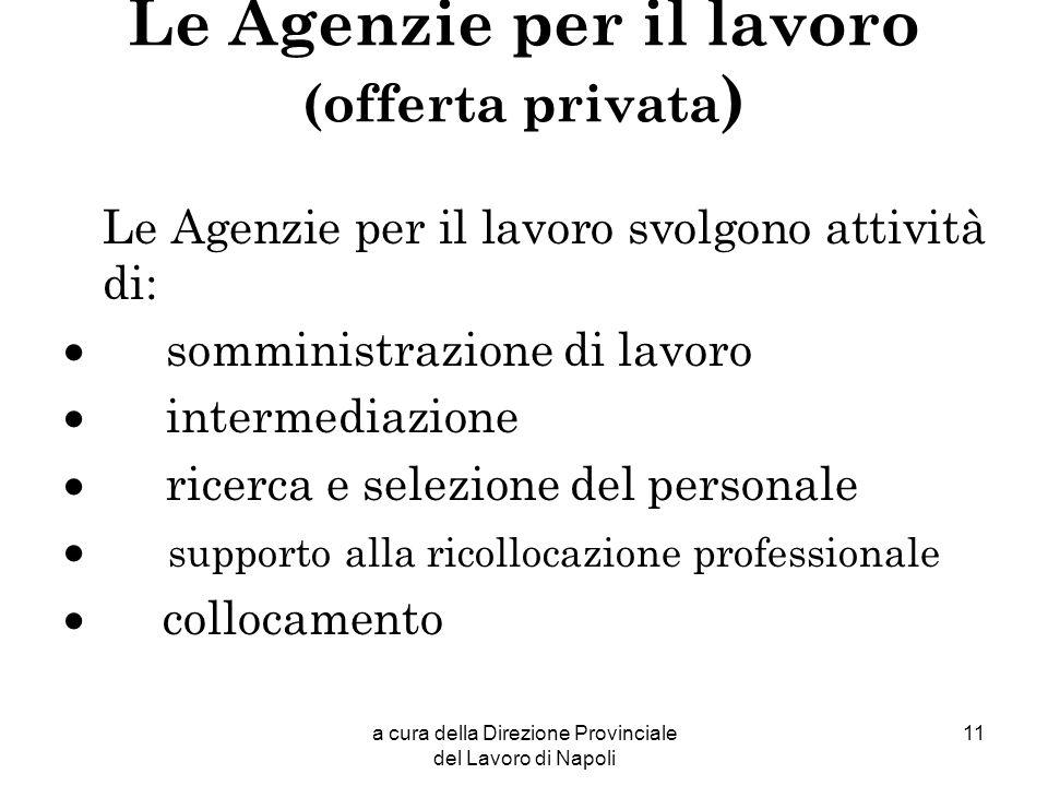 a cura della Direzione Provinciale del Lavoro di Napoli 11 Le Agenzie per il lavoro (offerta privata ) Le Agenzie per il lavoro svolgono attività di: