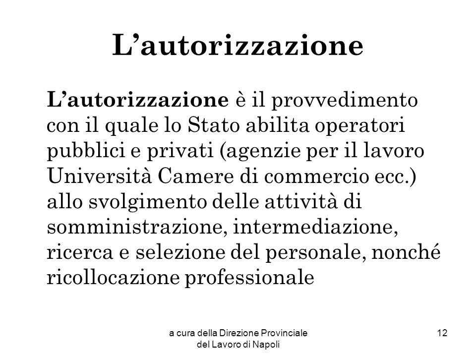 a cura della Direzione Provinciale del Lavoro di Napoli 12 Lautorizzazione Lautorizzazione è il provvedimento con il quale lo Stato abilita operatori