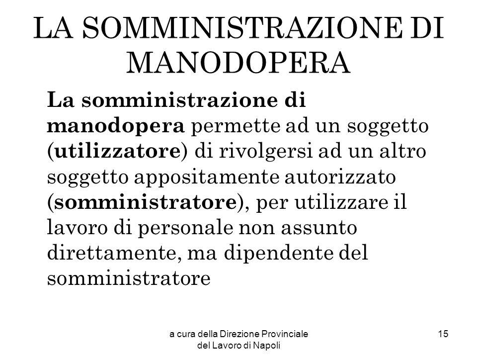 a cura della Direzione Provinciale del Lavoro di Napoli 15 LA SOMMINISTRAZIONE DI MANODOPERA La somministrazione di manodopera permette ad un soggetto