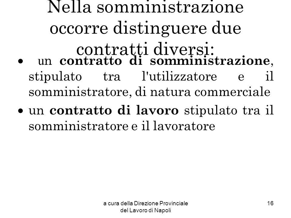 a cura della Direzione Provinciale del Lavoro di Napoli 16 Nella somministrazione occorre distinguere due contratti diversi: u n contratto di somminis