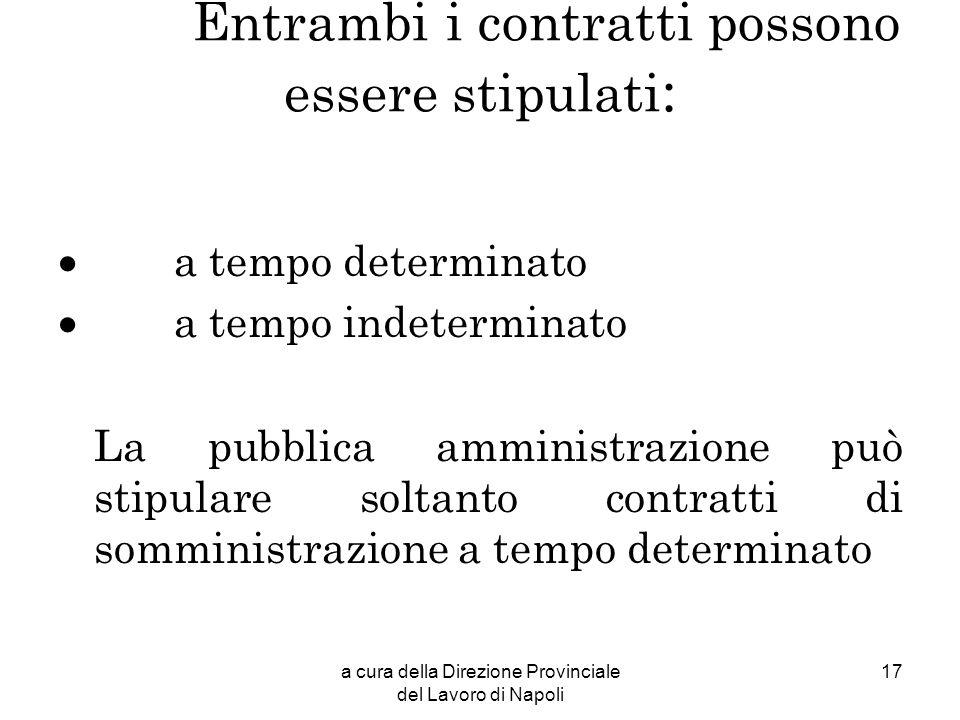 a cura della Direzione Provinciale del Lavoro di Napoli 17 Entrambi i contratti possono essere stipulati : a tempo determinato a tempo indeterminato L