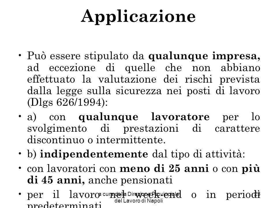 a cura della Direzione Provinciale del Lavoro di Napoli 23 Applicazione Può essere stipulato da qualunque impresa, ad eccezione di quelle che non abbi