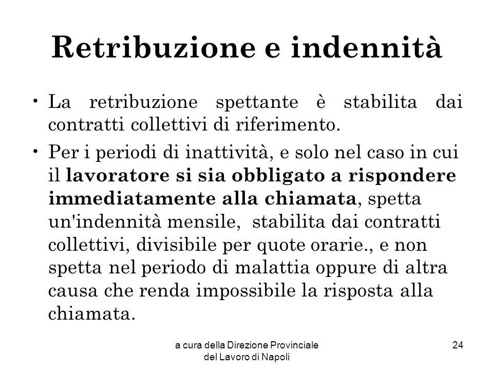 a cura della Direzione Provinciale del Lavoro di Napoli 24 Retribuzione e indennità La retribuzione spettante è stabilita dai contratti collettivi di