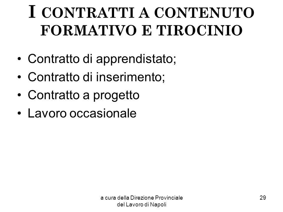 a cura della Direzione Provinciale del Lavoro di Napoli 29 I CONTRATTI A CONTENUTO FORMATIVO E TIROCINIO Contratto di apprendistato; Contratto di inse