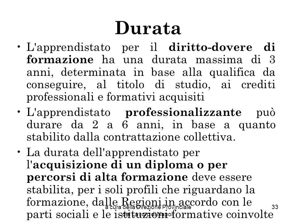 a cura della Direzione Provinciale del Lavoro di Napoli 33 Durata L'apprendistato per il diritto-dovere di formazione ha una durata massima di 3 anni,