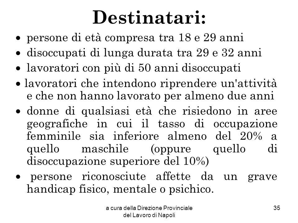 a cura della Direzione Provinciale del Lavoro di Napoli 35 Destinatari: persone di età compresa tra 18 e 29 anni disoccupati di lunga durata tra 29 e