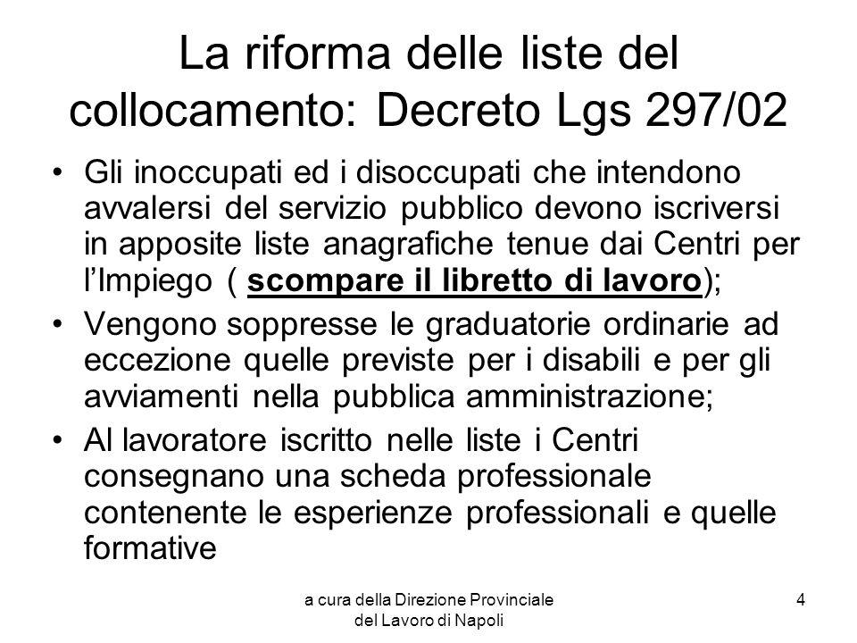 a cura della Direzione Provinciale del Lavoro di Napoli 5 Decreto Lgs 276/03 cd Legge Biagi La nuova normativa ha comportato: a) la trasformazione dei vecchi uffici di collocamento nei nuovi Centri per limpiego; b) la cessazione del monopolio del collocamento pubblico; c) lingresso nel mercato del lavoro di nuovi operatori (le Agenzie per il lavoro, le Università, le Camere di Commercio, gli Istituti scolastici, gli ordini professionali)