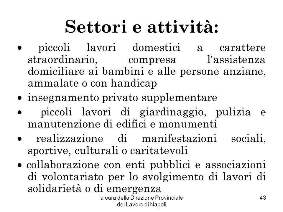 a cura della Direzione Provinciale del Lavoro di Napoli 43 Settori e attività: piccoli lavori domestici a carattere straordinario, compresa l'assisten
