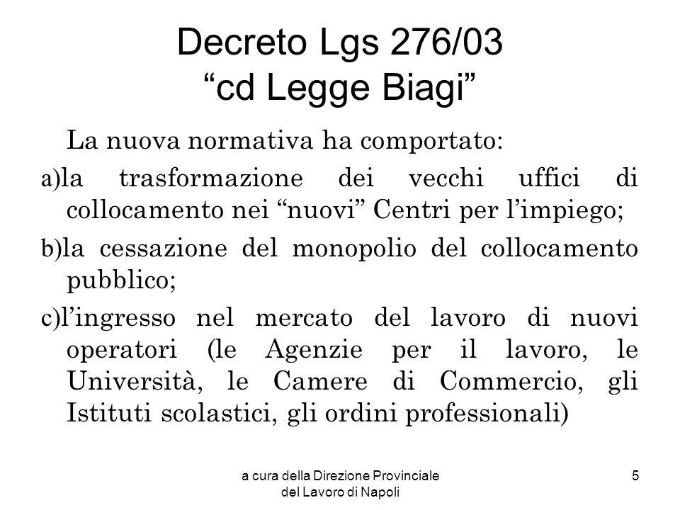 a cura della Direzione Provinciale del Lavoro di Napoli 5 Decreto Lgs 276/03 cd Legge Biagi La nuova normativa ha comportato: a) la trasformazione dei