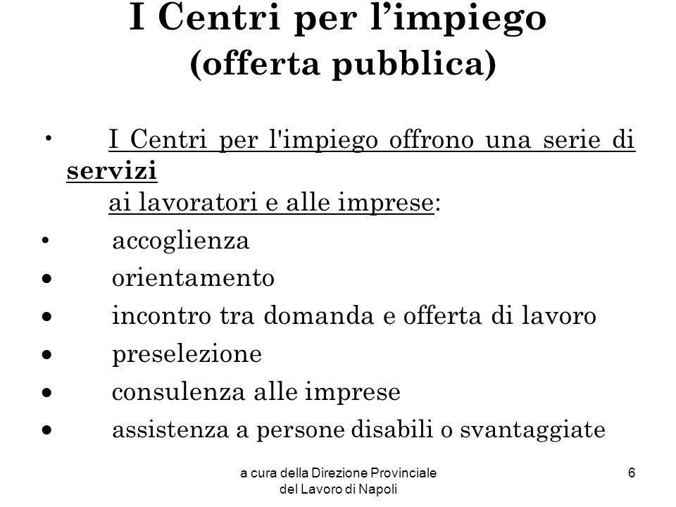 a cura della Direzione Provinciale del Lavoro di Napoli 6 I Centri per limpiego (offerta pubblica) I Centri per l'impiego offrono una serie di servizi