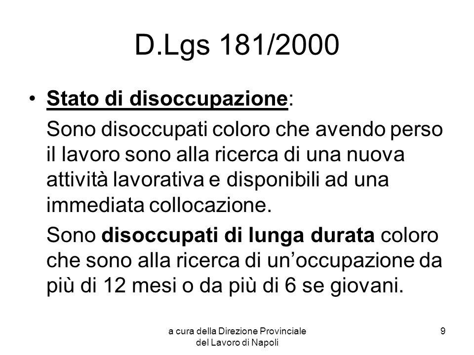 a cura della Direzione Provinciale del Lavoro di Napoli 10 Rilevazione stato di disoccupazione La condizione di inoccupazione o disoccupazione viene dichiarata dallinteressato presso il centro per lImpiego dove si trova il domicilio del medesimo.