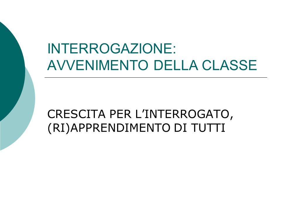 INTERROGAZIONE: AVVENIMENTO DELLA CLASSE CRESCITA PER LINTERROGATO, (RI)APPRENDIMENTO DI TUTTI