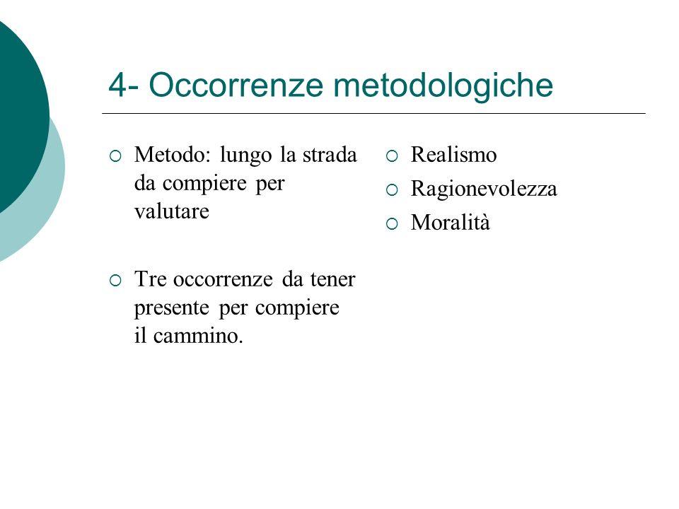 4- Occorrenze metodologiche Metodo: lungo la strada da compiere per valutare Tre occorrenze da tener presente per compiere il cammino. Realismo Ragion