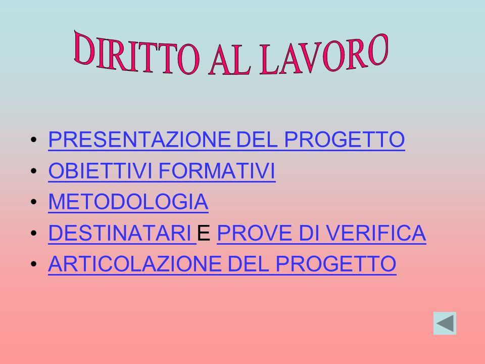 PRESENTAZIONE DEL PROGETTO OBIETTIVI FORMATIVI METODOLOGIA DESTINATARI E PROVE DI VERIFICADESTINATARI PROVE DI VERIFICA ARTICOLAZIONE DEL PROGETTO