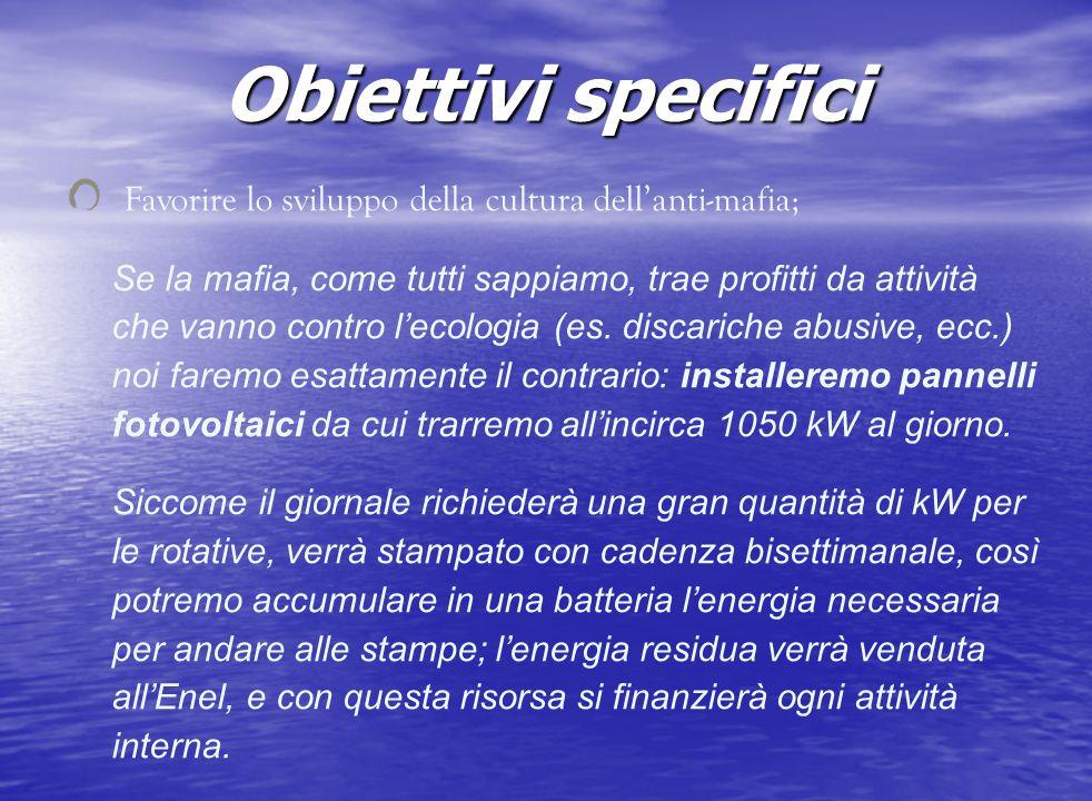 Obiettivi specifici Favorire lo sviluppo della cultura dellanti-mafia; Se la mafia, come tutti sappiamo, trae profitti da attività che vanno contro le