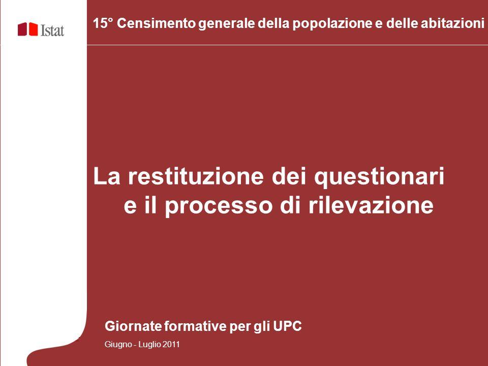 15° Censimento generale della popolazione e delle abitazioni La restituzione dei questionari e il processo di rilevazione Giornate formative per gli UPC Giugno - Luglio 2011