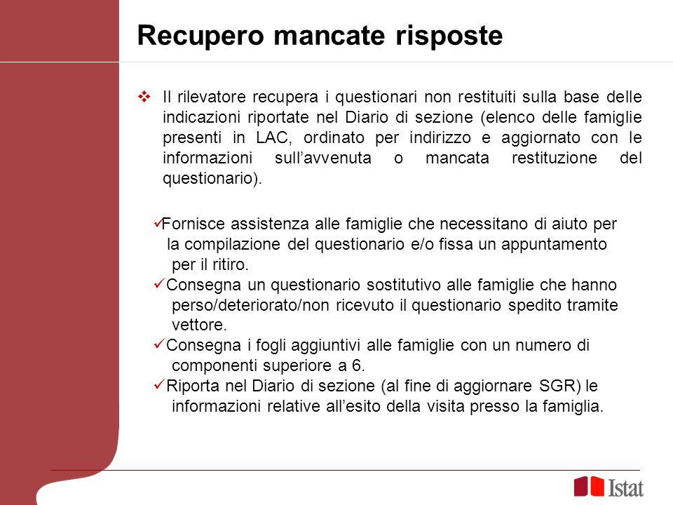 Recupero mancate risposte Il rilevatore recupera i questionari non restituiti sulla base delle indicazioni riportate nel Diario di sezione (elenco del