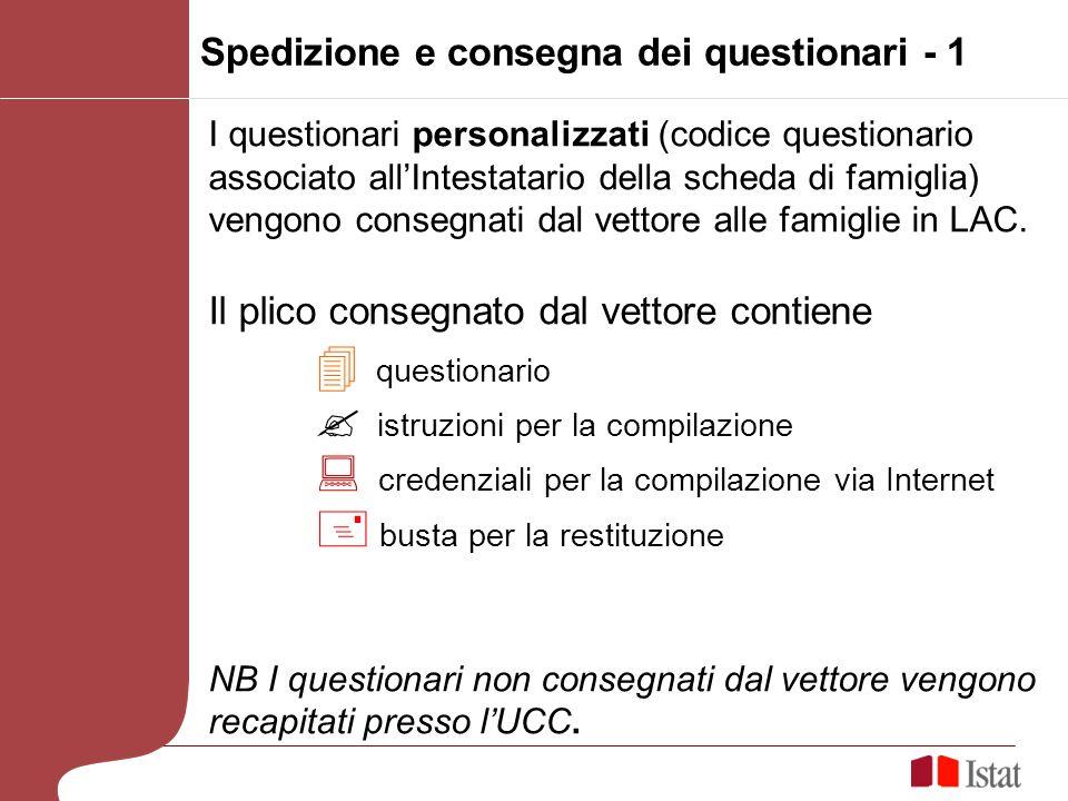 Spedizione e consegna dei questionari - 1 I questionari personalizzati (codice questionario associato allIntestatario della scheda di famiglia) vengon