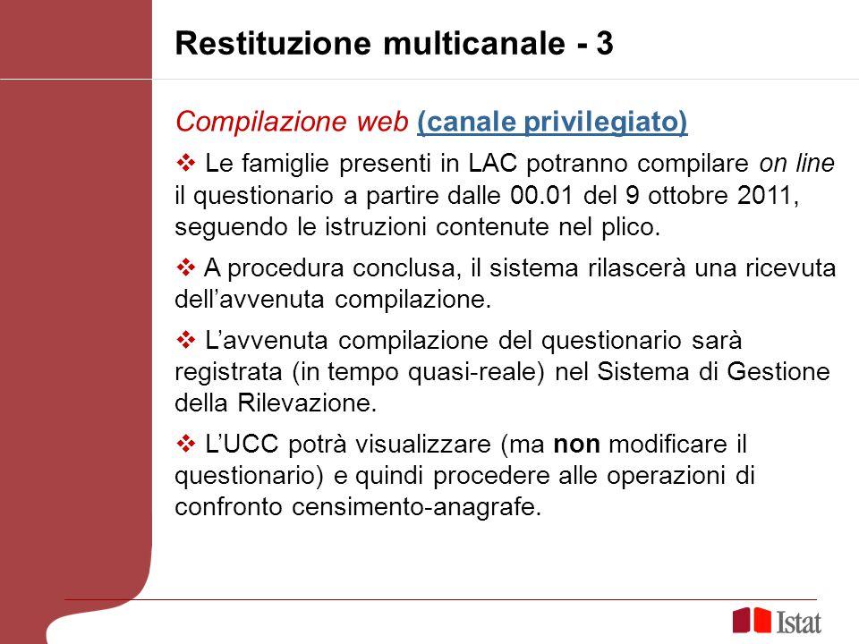 Restituzione multicanale - 3 Compilazione web (canale privilegiato)(canale privilegiato) Le famiglie presenti in LAC potranno compilare on line il questionario a partire dalle 00.01 del 9 ottobre 2011, seguendo le istruzioni contenute nel plico.