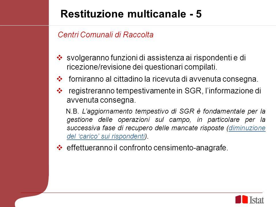 Restituzione multicanale - 5 svolgeranno funzioni di assistenza ai rispondenti e di ricezione/revisione dei questionari compilati.