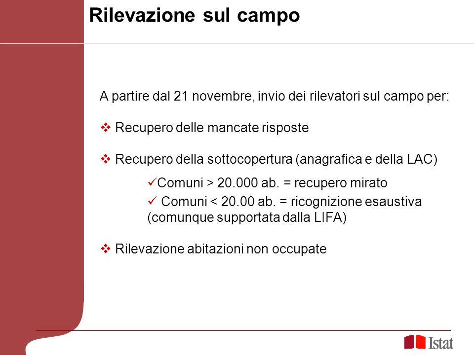 Rilevazione sul campo A partire dal 21 novembre, invio dei rilevatori sul campo per: Recupero delle mancate risposte Recupero della sottocopertura (anagrafica e della LAC) Comuni > 20.000 ab.