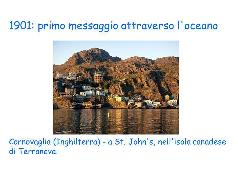 1901: primo messaggio attraverso l'oceano Cornovaglia (Inghilterra) - a St. John's, nell'isola canadese di Terranova.