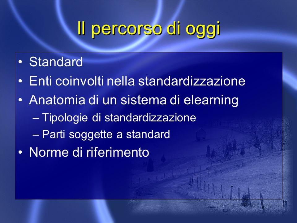 Il percorso di oggi Standard Enti coinvolti nella standardizzazione Anatomia di un sistema di elearning –Tipologie di standardizzazione –Parti soggette a standard Norme di riferimento