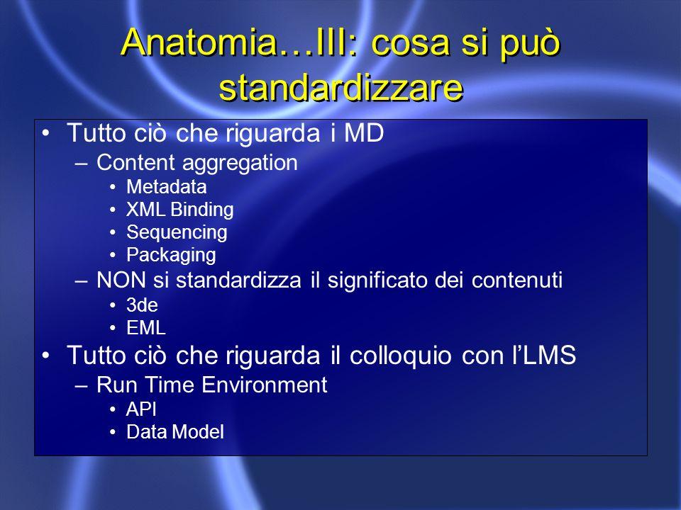 Anatomia…III: cosa si può standardizzare Tutto ciò che riguarda i MD –Content aggregation Metadata XML Binding Sequencing Packaging –NON si standardizza il significato dei contenuti 3de EML Tutto ciò che riguarda il colloquio con lLMS –Run Time Environment API Data Model
