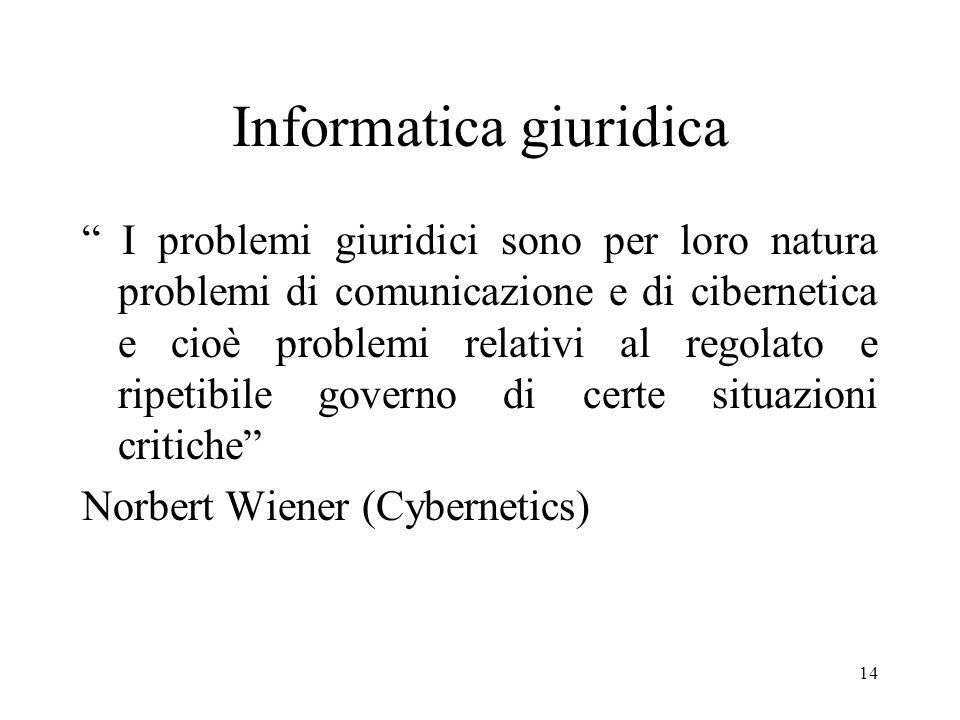 14 Informatica giuridica I problemi giuridici sono per loro natura problemi di comunicazione e di cibernetica e cioè problemi relativi al regolato e ripetibile governo di certe situazioni critiche Norbert Wiener (Cybernetics)