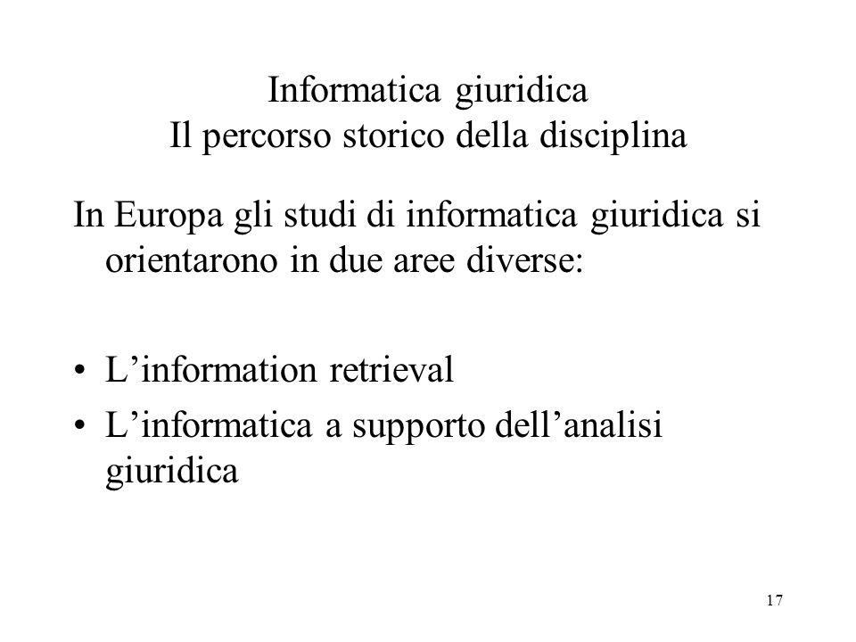 17 Informatica giuridica Il percorso storico della disciplina In Europa gli studi di informatica giuridica si orientarono in due aree diverse: Linformation retrieval Linformatica a supporto dellanalisi giuridica