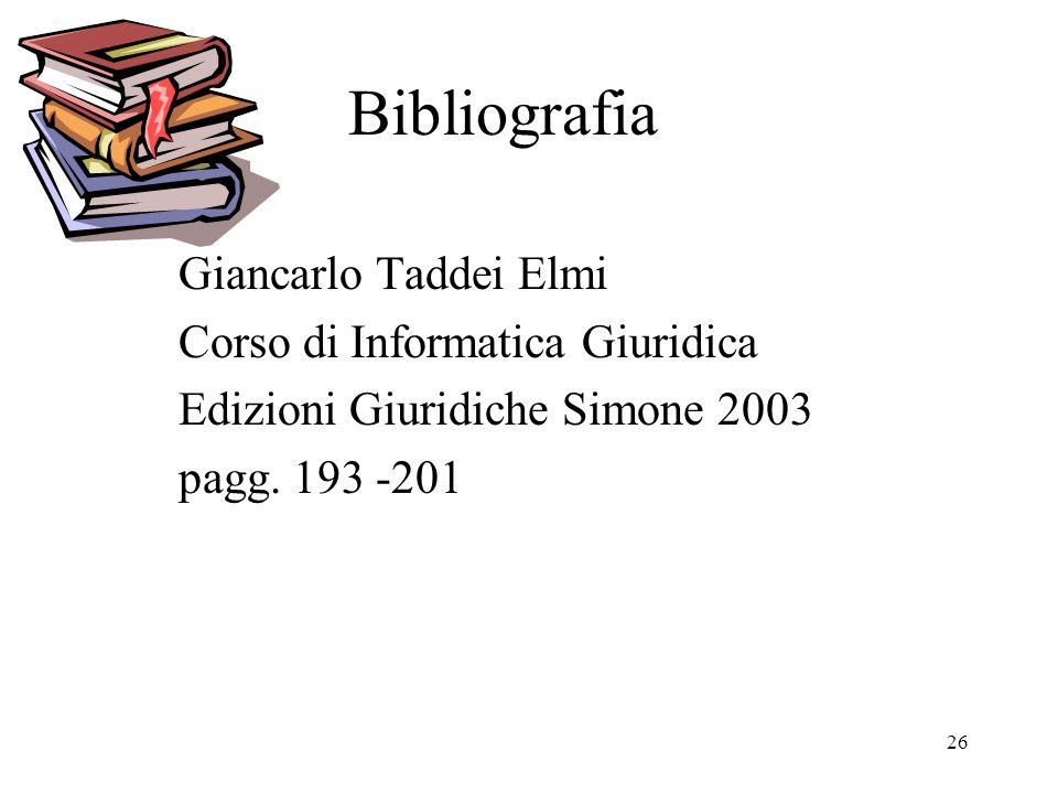 26 Bibliografia Giancarlo Taddei Elmi Corso di Informatica Giuridica Edizioni Giuridiche Simone 2003 pagg.