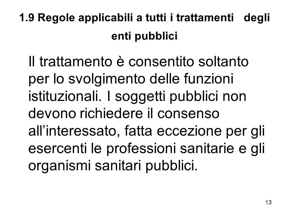 13 1.9 Regole applicabili a tutti i trattamenti degli enti pubblici Il trattamento è consentito soltanto per lo svolgimento delle funzioni istituziona