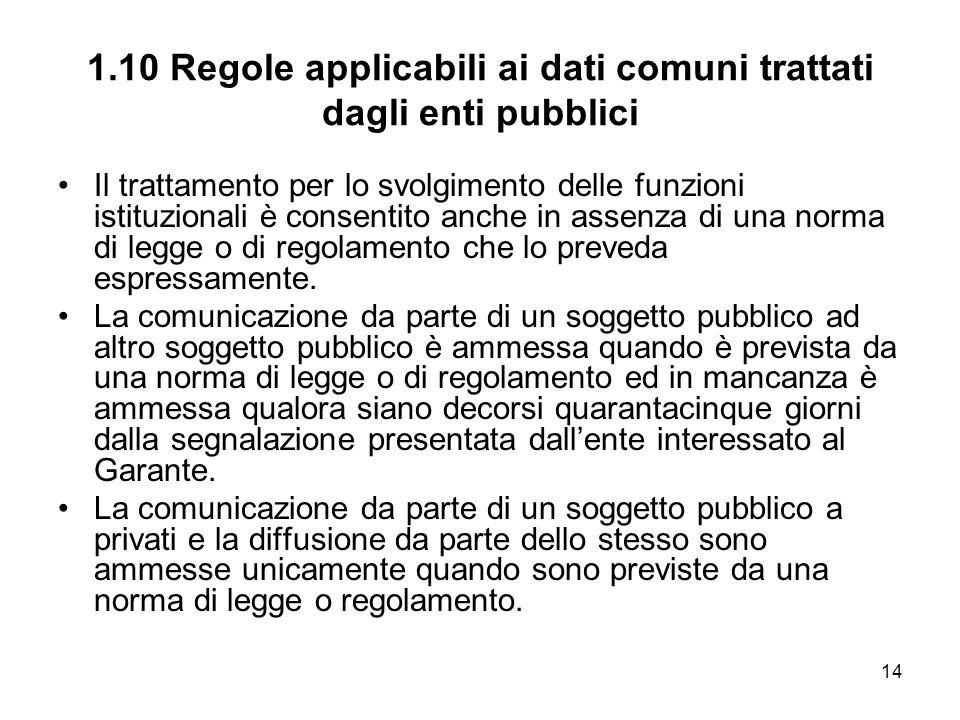 14 1.10 Regole applicabili ai dati comuni trattati dagli enti pubblici Il trattamento per lo svolgimento delle funzioni istituzionali è consentito anc