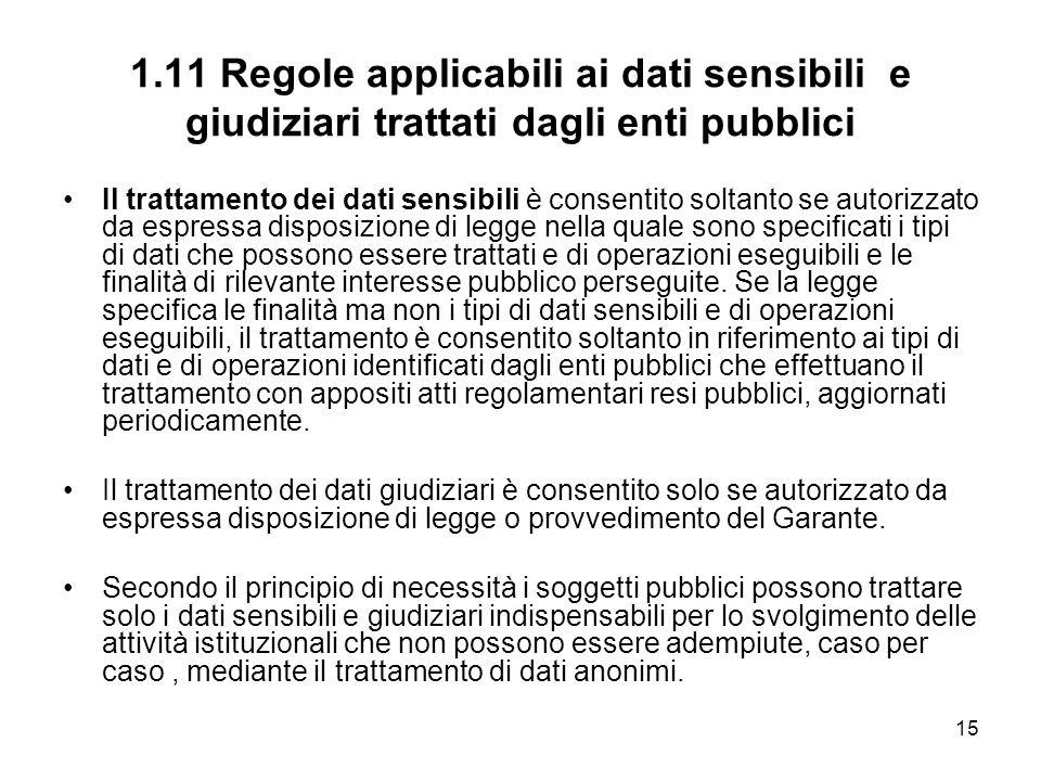 15 1.11 Regole applicabili ai dati sensibili e giudiziari trattati dagli enti pubblici Il trattamento dei dati sensibili è consentito soltanto se auto