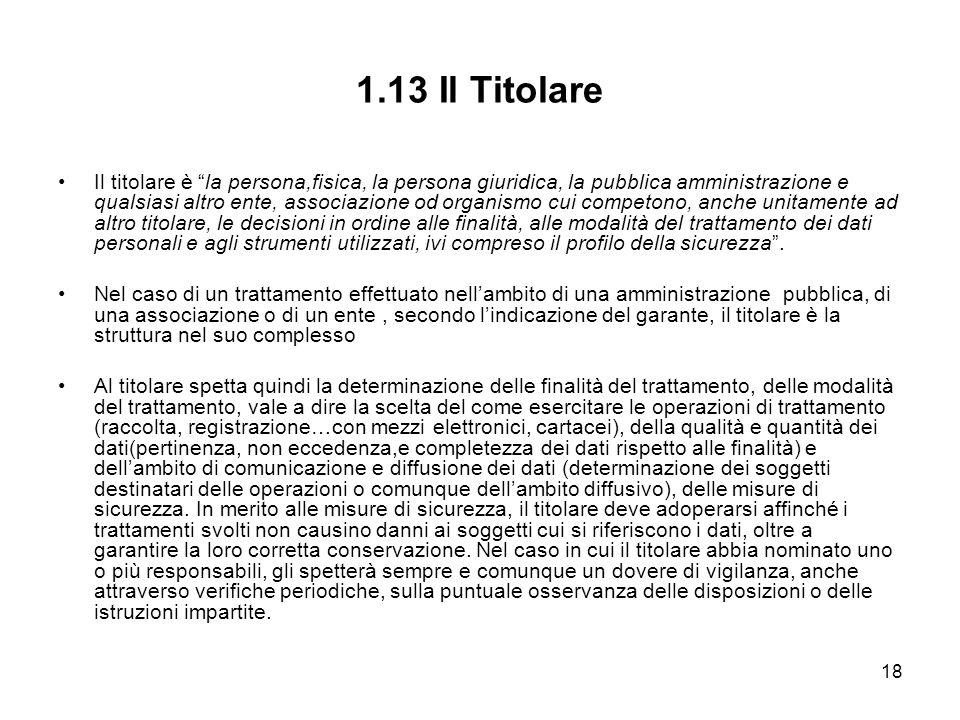 18 1.13 Il Titolare Il titolare è la persona,fisica, la persona giuridica, la pubblica amministrazione e qualsiasi altro ente, associazione od organis