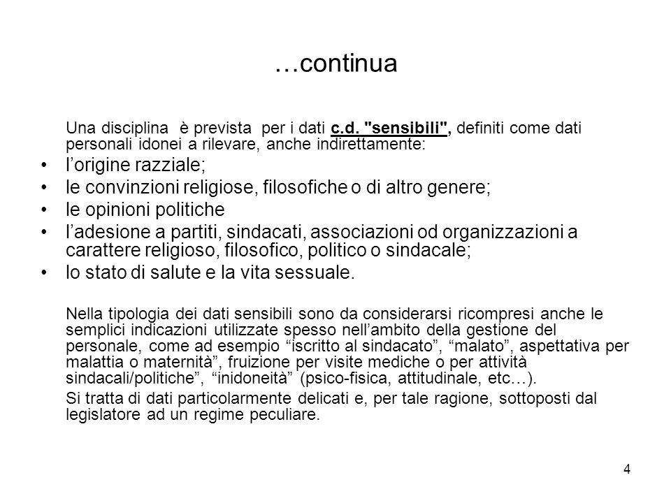 4 …continua Una disciplina è prevista per i dati c.d.