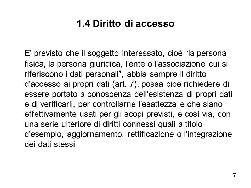 7 1.4 Diritto di accesso E' previsto che il soggetto interessato, cioè la persona fisica, la persona giuridica, l'ente o l'associazione cui si riferis