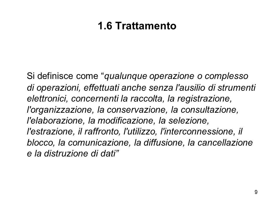 9 1.6 Trattamento Si definisce come qualunque operazione o complesso di operazioni, effettuati anche senza l'ausilio di strumenti elettronici, concern