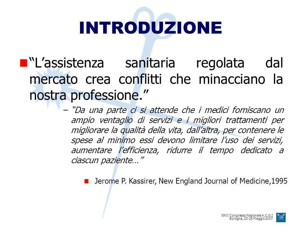 XXVI Congresso Nazionale A.C.O.I Bologna, 23-25 Maggio 2007 INTRODUZIONE Lassistenza sanitaria regolata dal mercato crea conflitti che minacciano la nostra professione.
