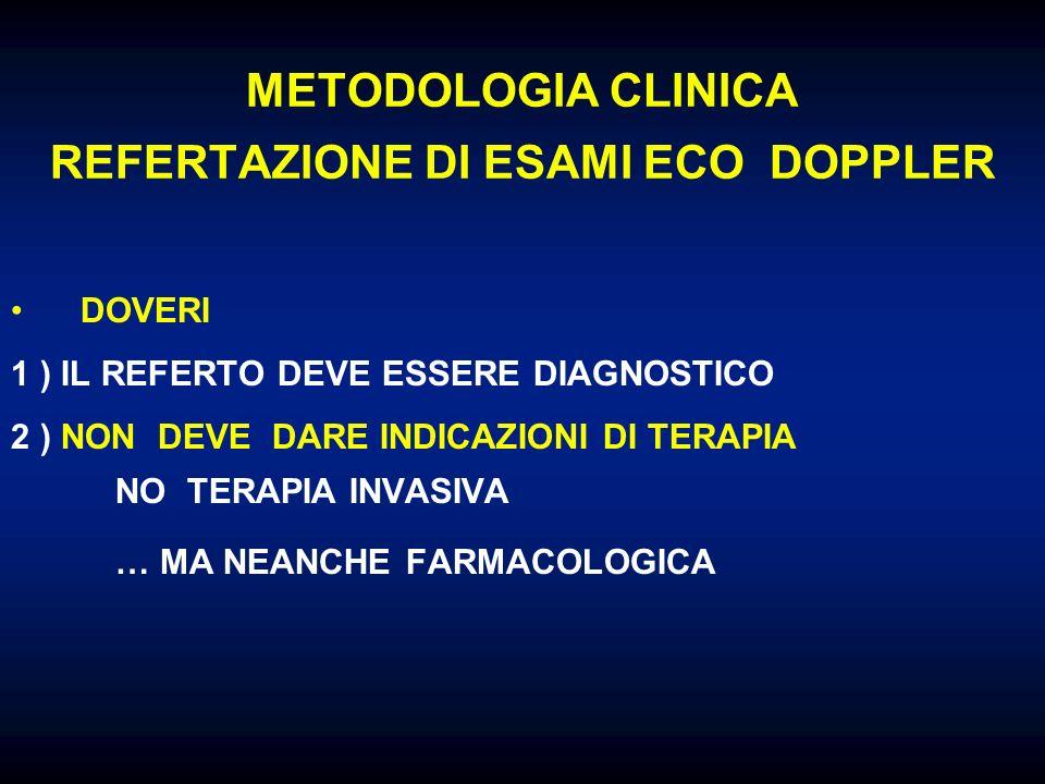 METODOLOGIA CLINICA REFERTAZIONE DI ESAMI ECO DOPPLER DOVERI 1 ) IL REFERTO DEVE ESSERE DIAGNOSTICO 2 ) NON DEVE DARE INDICAZIONI DI TERAPIA NO TERAPI