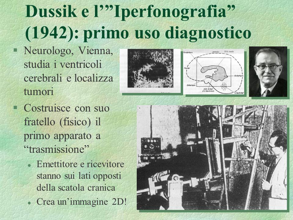 15 Dussik e lIperfonografia (1942): primo uso diagnostico §Neurologo, Vienna, studia i ventricoli cerebrali e localizza tumori §Costruisce con suo fra