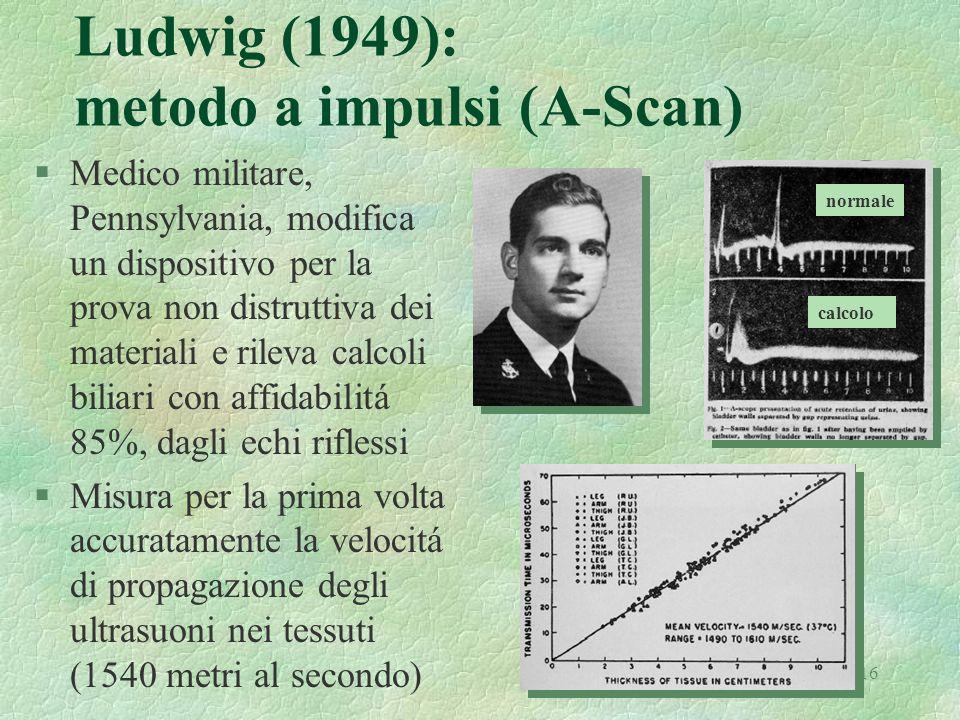 16 Ludwig (1949): metodo a impulsi (A-Scan) §Medico militare, Pennsylvania, modifica un dispositivo per la prova non distruttiva dei materiali e rilev