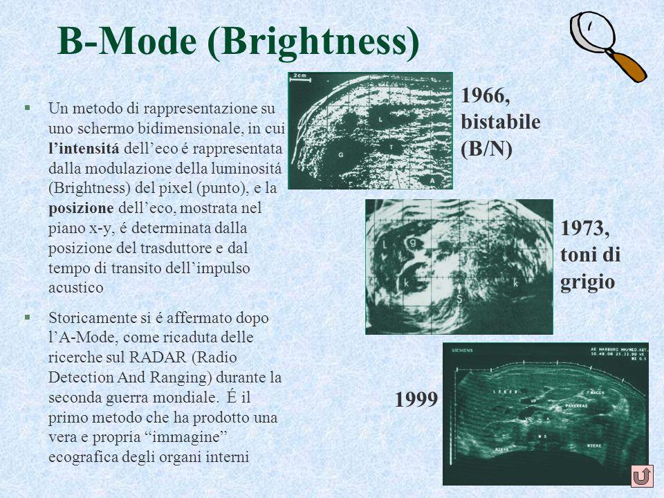 19 B-Mode (Brightness) §Un metodo di rappresentazione su uno schermo bidimensionale, in cui lintensitá delleco é rappresentata dalla modulazione della