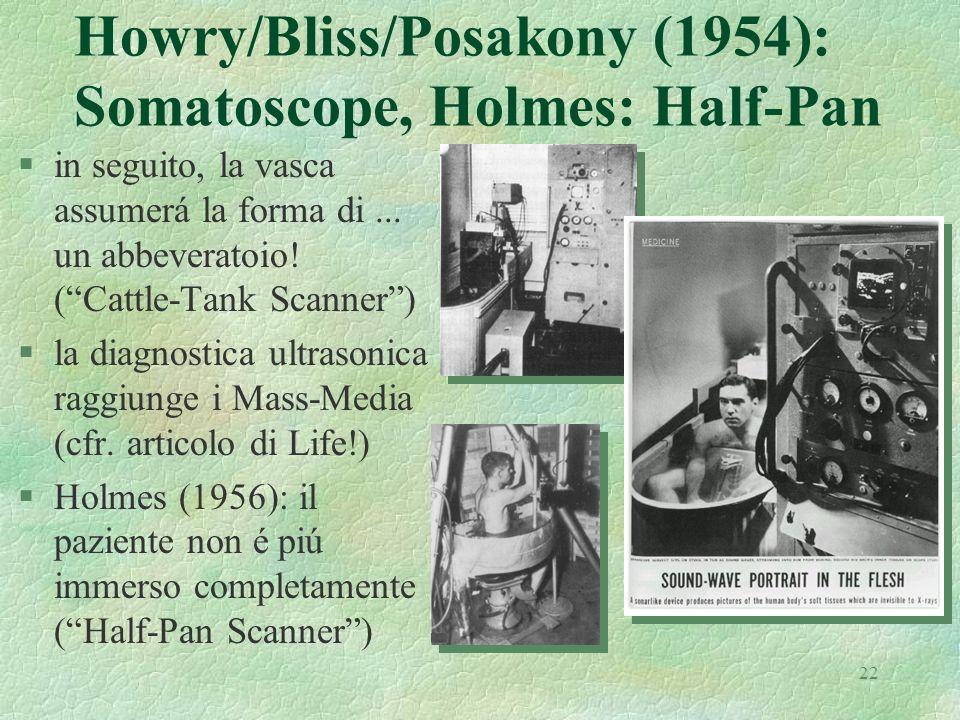 22 Howry/Bliss/Posakony (1954): Somatoscope, Holmes: Half-Pan §in seguito, la vasca assumerá la forma di... un abbeveratoio! (Cattle-Tank Scanner) §la