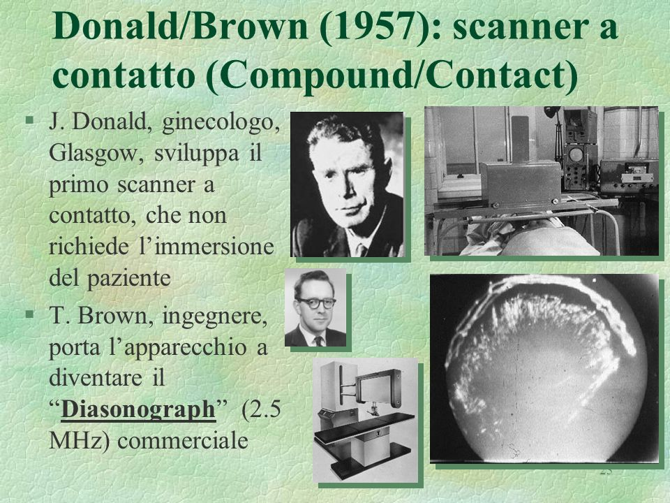 23 Donald/Brown (1957): scanner a contatto (Compound/Contact) §J. Donald, ginecologo, Glasgow, sviluppa il primo scanner a contatto, che non richiede