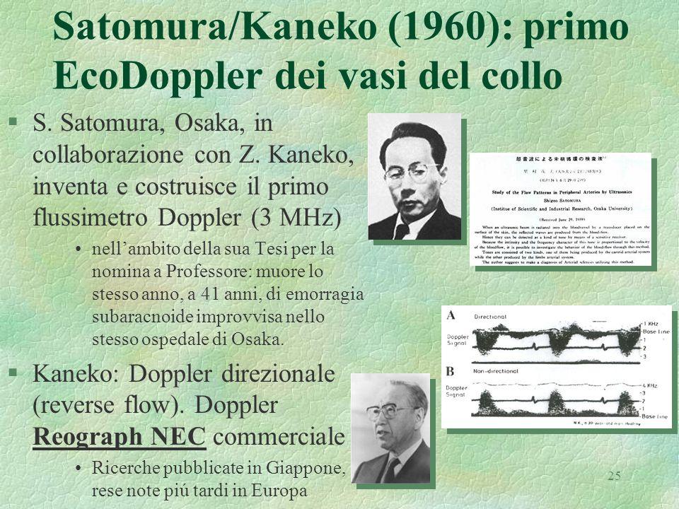 25 Satomura/Kaneko (1960): primo EcoDoppler dei vasi del collo §S. Satomura, Osaka, in collaborazione con Z. Kaneko, inventa e costruisce il primo flu
