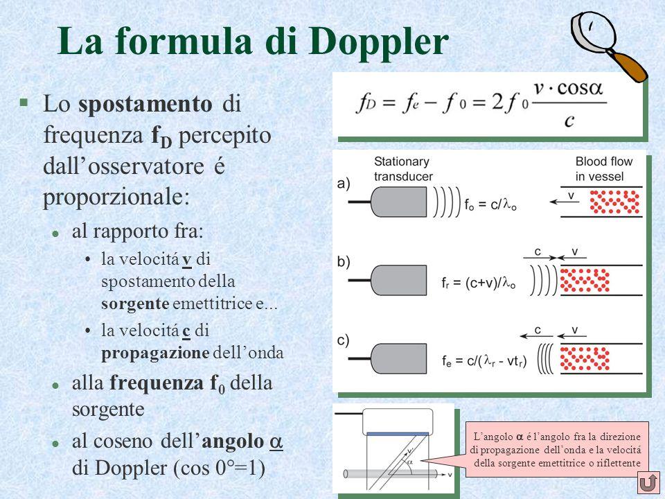 28 La formula di Doppler §Lo spostamento di frequenza f D percepito dallosservatore é proporzionale: l al rapporto fra: la velocitá v di spostamento d