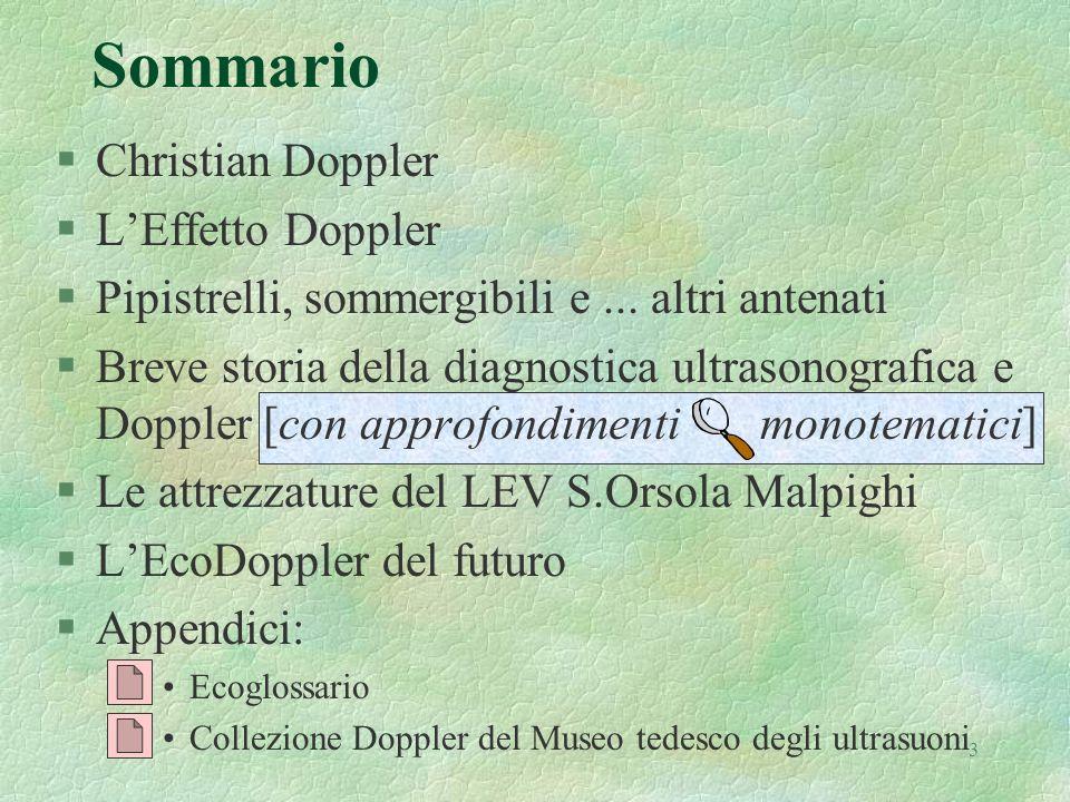 3 Sommario §Christian Doppler §LEffetto Doppler §Pipistrelli, sommergibili e... altri antenati §Breve storia della diagnostica ultrasonografica e Dopp
